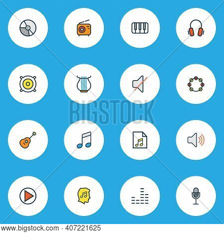Music Icons Colored Line Set With Music Level, Soundtrack, Start And Other Tambourine Elements. Isol