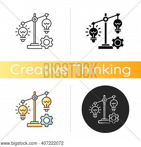 Idea Prioritization Icon. Creative Thinking Idea. Choosing The Right Goals. Priority Optimization. C