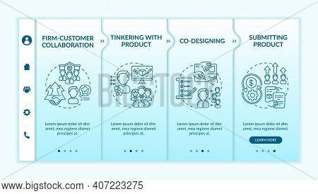 Collaborative Creation Types Onboarding Vector Template. Tinkering With Product. Submitting Project.