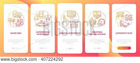 Cyber-physical Systems Onboarding Mobile App Page Screen With Concepts. Autonomous Auto, Med Monitor