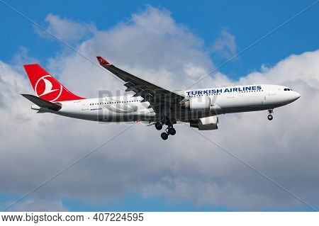 Istanbul, Turkey - March 30, 2019: Turkish Airlines Airbus A330-200 Tc-loh Passenger Plane Landing A