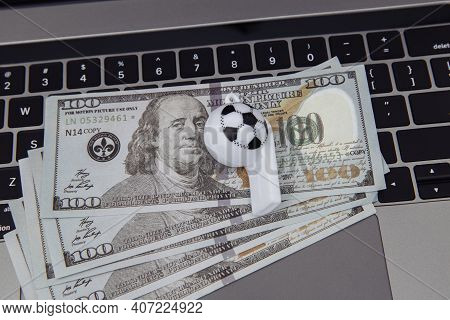 Soccer Whistle On Dollar Banknotes. Betting On Sport Concept