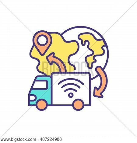 Driverless Delivery Service Rgb Color Icon. Self-driving Box Trucks. Delivering Customer Online Orde