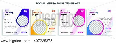 Set Of Social Media Post Template With White Color Design. Marketing Expert Banner. Good Template Fo