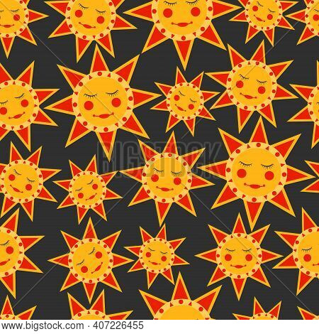 Seamless Pattern With Russian Traditional Sun - Symbol Of The Holiday Carnival About Russian Pancake