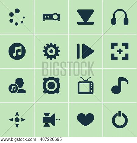 Multimedia Icons Set With Arrow Down, Satellite, Start And Other Bottom Elements. Isolated Illustrat