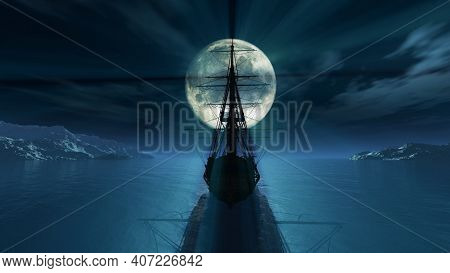 Old Ship In The Night Full Moon 3d Render Illustration