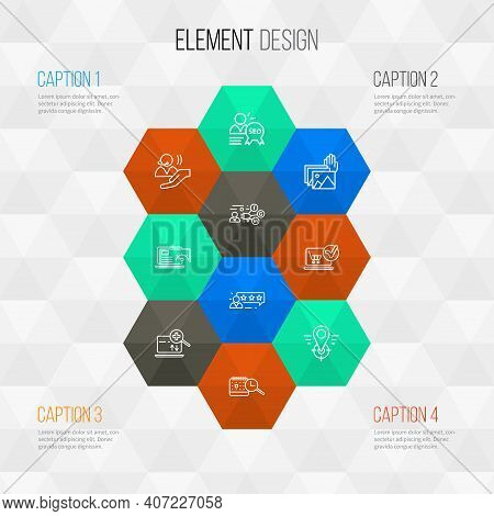 Engine Icons Line Style Set With Search Engine, Geo Targeting, Seo Specialist And Other Gallery Elem