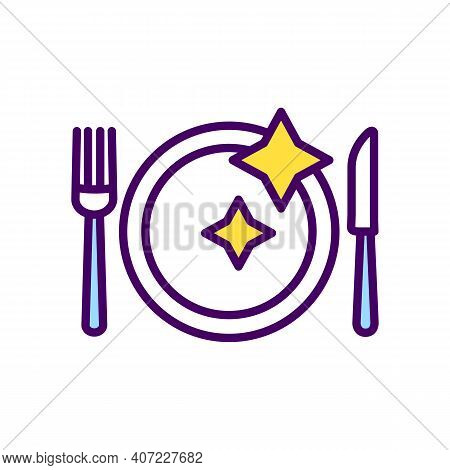 Table Setting Rgb Color Icon. Dinner Plate With Fork And Knife. Dining Etiquette. Hosting Dinner Par