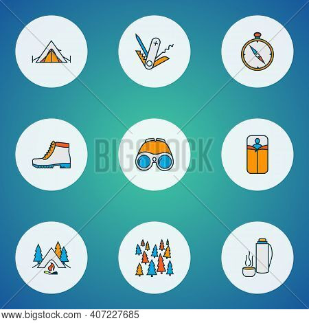 Camping Icons Colored Line Set With Camping Boots, Compass, Swiss Knife And Other Navigation Element