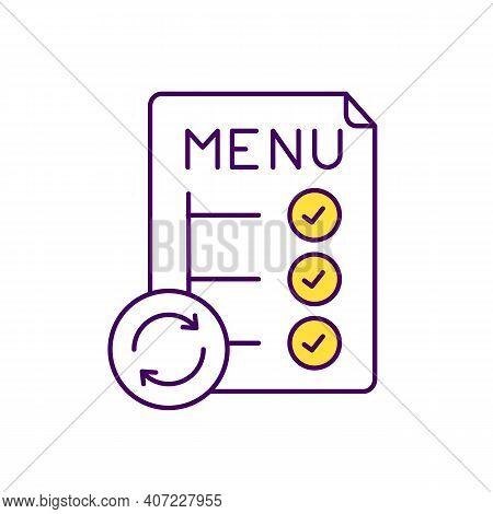 Menu Optimization Rgb Color Icon. Reducing Food Waste. Menu Design And Planning. Daily Food Consumpt