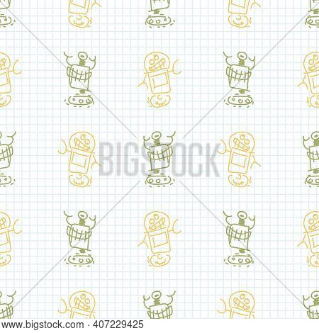 Cute Crayon Robot Scribble Kid Doodle Background. Hand Drawn Earthy Whimsical Motif Seamless Pattern