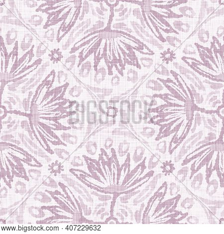 Watercolor Purple Flower Motif Background. Hand Painted Earthy Whimsical Seamless Pattern. Modern Fl
