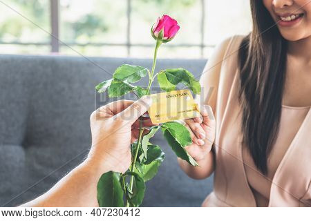 Blurred Soft Images Of Attractive Woman Picking Mock Up Credit Cards But Not Picking Roses Flower Fr