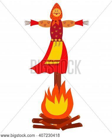 Traditional Effigy Burnt On The Feast Of Maslenitsa Or Shrovetide. Maslenitsa Doll Isolated On White