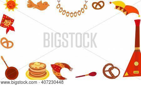 Maslenitsa Frame. Shrovetide. Maslenitsa Elements - Pancake, Balalaika, Sun, Bagels, Kokoshnik. Panc