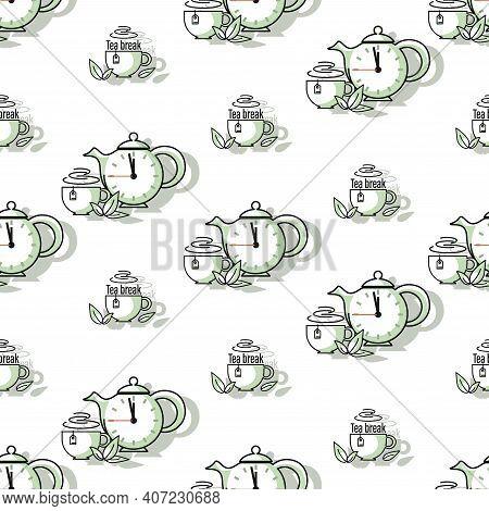 Tea Break Background. Teapot, Clock. Green Tea. Cup, Green Fresh Mint Leaves. Seamless Pattern. Desi