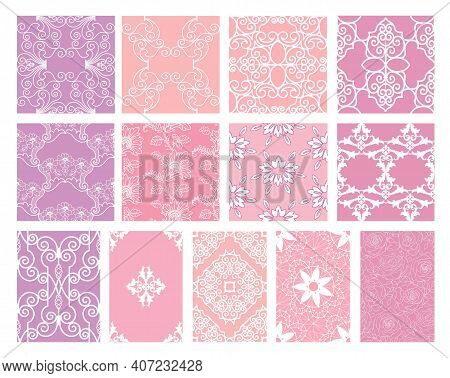 Collection Of White Openwork Patterns On A Pink Background