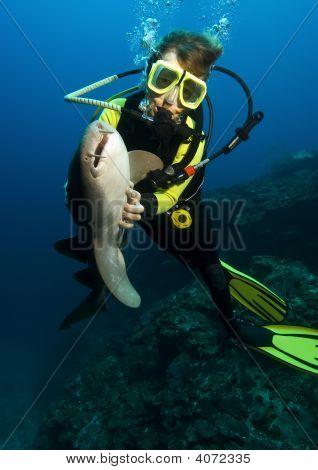 Diver With Nurse Shark