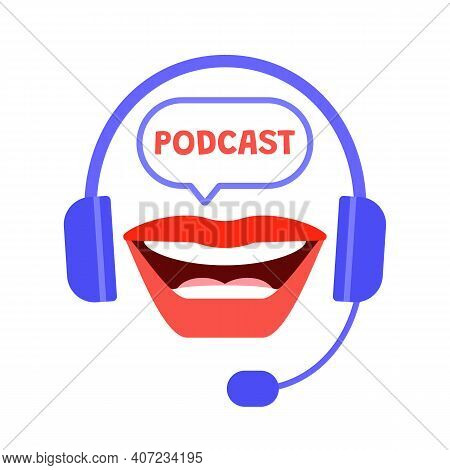 Recording Podcast Radio Studio With Headset And Mouth Icon. Sound Equipment, Microphone, Headset For