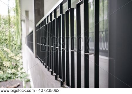 Iron Balustrade Terrace Side View Perspective, Dynamic And Modern Image