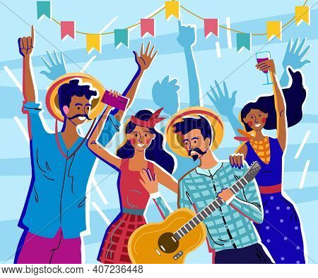 Male And Female Characters Are Celebrating Festa Junina. Latin American Party June Party Of Brazil W