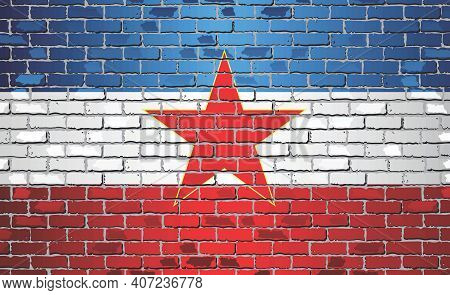 Shiny Flag Of Yugoslavia On A Brick Wall - Illustration, Abstract Grunge Vector Background