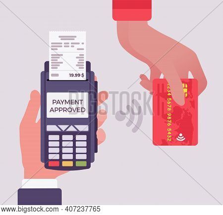 Credit Card Processing Service, System In Point Of Sale, Pos. Hands Close Up Accept Contactless Paym