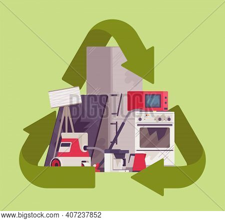 Recycling Green Symbol For Piled Electrical Appliances. Environment Care For Broken Household Device