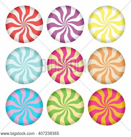 Spiral Candies Icon Set. Lollipop Design Elements. Social Media Highlight Stories Covers. Set Of Can