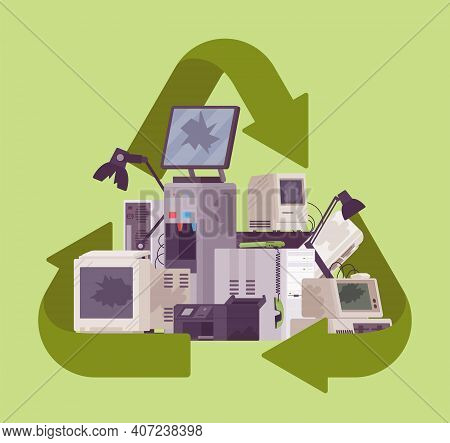 Recycling Green Symbol For Electronic Appliances Waste Trash Pile. Environment Care For Unwanted Tec