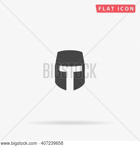 Spartan Helmet Flat Vector Icon. Hand Drawn Style Design Illustrations.