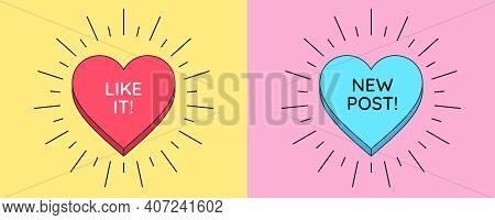 Like It Button And New Post Banner. Social Media Templates With Heart Button Inside Sunburst And Tex