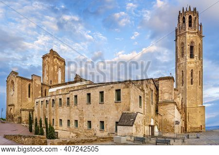 Cathedral Of St. Mary Of La Seu Vella Is The Former Cathedral Church Of The Roman Catholic Diocese O