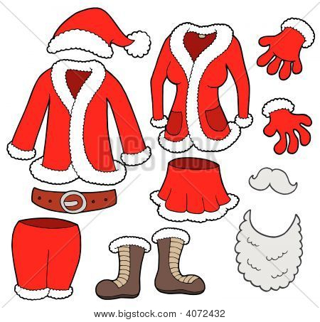 Santa Clauses clothes collection various objects - vector illustration. poster