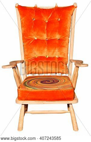 Nice Comfortable Wooden Armchair With Fastened Soft Cushions On The Back And Seat. Bright Orange Pat