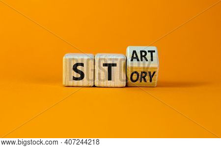 Start Your Story Symbol. Turned A Wooden Cube And Changed The Word 'story' To 'start'. Beautiful Ora