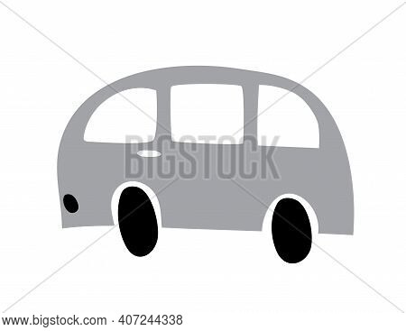 School Bus Icon In Doodle Style. Autobus Vector Cartoon Illustration On White Isolated Background. C