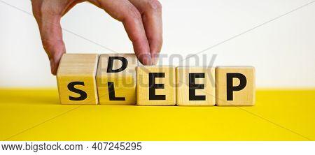 Sleep Deep Symbol. Doctor Turns Wooden Cubes With Words Sleep Deep. Beautiful Yellow Table, White Ba