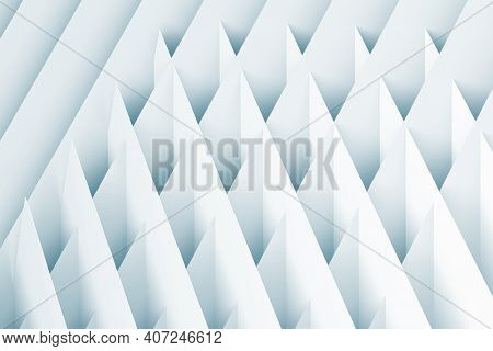 Abstract Geometric Background. Intersected White Paper Sheets, Blue Toned Cgi Pattern. 3d Rendering