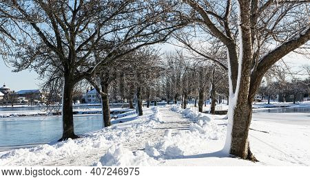 A Walking Path Is Shoveled Between The Lakes Of Argyle Park With Shinning Frozen Trees In Babylon Vi