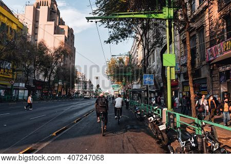 Empty Central Street Of Mexico City Eje Central Street Or Avenida Lazaro Cardenas With No Cars Becau