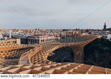 Seville, Spain - January 19, 2020: View Of Seville Skyline And Metropol Parasol, The Largest Wooden