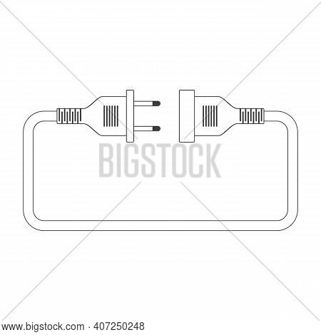 Electric Plug And Socket Isolated Abstract Vector Illustration In Flat Design. Concept Connection, C