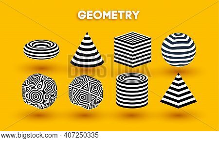 Yellow Background Optical Illusion Shapes Vector Set. Pyramid Striped. Cylinder And Cube Optical Abs