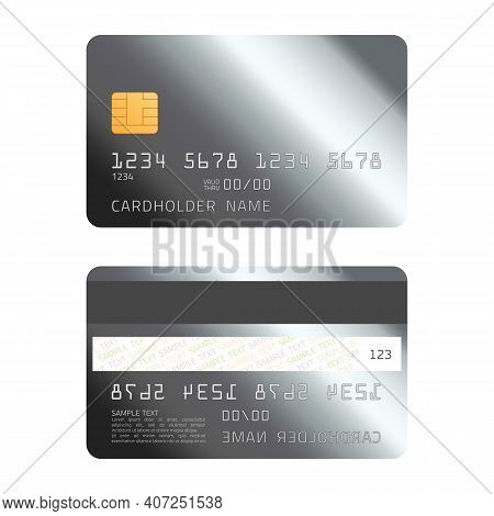 Platinum Credit Card. Empty, Platinum Plastic Card Template Isolated On White Background. Realistic