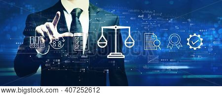 Legal Advice Service Concept With Businessman On A Dark Blue Background