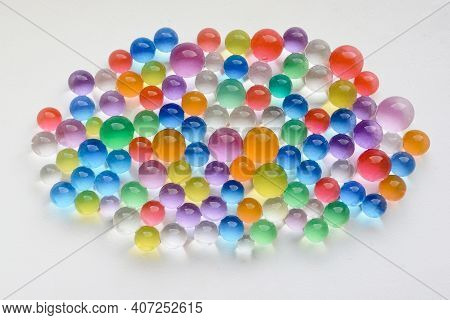 Balls Of Colored Polymer Gel, Hydrogel Beads. Water Absorbent