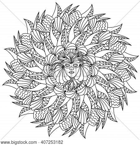 Mardi Gras Mandala, A Face In A Carnival Mask In The Center Of A Round Mask With Ornate Patterns For