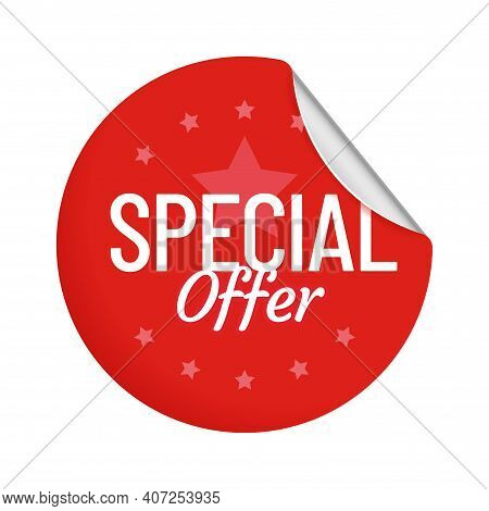 Special Offer Round Adhesive Badge With Curved Corner. Red Circle Sticker With Metallic Curly Angle.